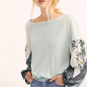 Free People Casual Clash knit top blue billow SM